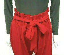 *NEW 2020 LOOK Plus SIZE Paperbag HIGH Tie WAIST Chilli RED Trouser MADE IN UK*