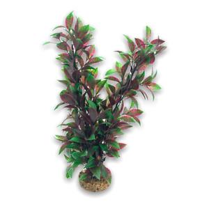 Aquarium Ornament Purple Green Plastic Plant on Stone Large 38cm