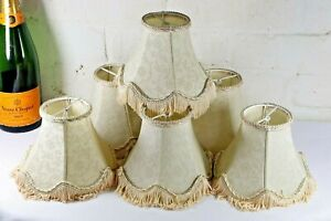 A Set of 6 Vintage Silk Clip On Lampshades Antique Style For Chandeliers etc