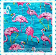 BonEful Fabric Cotton Flamingo Florida Beach Water Flower Pink Bird 4 SALE SCRAP