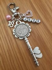 LUCKY SIXPENCE KEY CHARM, 18th, BIRTHDAY, PERSONALISED, keyring
