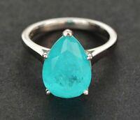Solid Damen Ring Silber 925 10*14mm Paraiba Turmalin Edelstein Ring Geschenk Neu