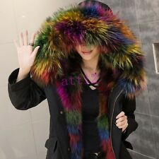 Real Fox Fur Hooded Fur Lined Womens Winter Snow Coat Jacket Black Army Green
