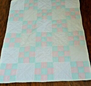 Pink and Green Baby Quilt  35 X 41 Handmade - Great gift IDEA!!@*