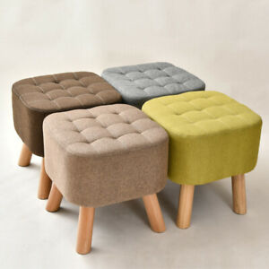 Linen Fabric Padded Footstool Footrest Square Pouffe Wooden Leg Stool Chair