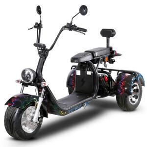 E - Scooter Chopper Moped Citycoco 120km Reichweite 45 km/h mit STVO Zulassung