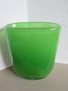 Henry Dean Vase Blumenvase dunkel grün oval 14 cm oval handgefertigt unbenutzt
