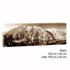 Bergsee sepia Panoramabild Keilrahmen Leinwand Bild Poster XXL 150 cm*50 cm 523
