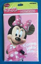 Minnie Mouse 8 Birthday Party Invitations Disney W/Envelopes