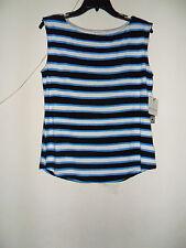 Liz Claiborne Extended Shoulder Stripes Top White/Black/Blue Size:M New with tag