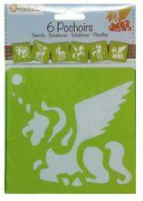 6 Schablonen Einhorn Motive, Bastelschablone Malschablone Acryl Tupfen Schablone