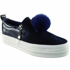 Womens Ladies Trainers Comfy Slip On Flat Zip Pom Pom Sneakers Pumps Shoes Size