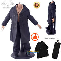 "1:6 WWII Common People Civilians Black Wool Greatcoat Suit for 12"" Body Figure"