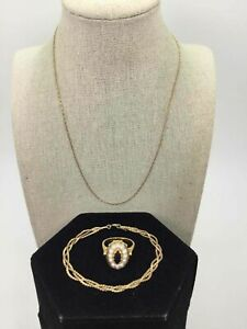 Yellow Gold Plated Lot Of 3 Braided Bracelet/Necklace/Ring Size 7