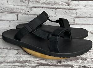 Teva Universal Slides Size 14 Men's Sandals Black Leather Slip On Shoes