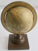 Vintage Old World Mini World Globe Plastic Base Hong Kong Desk Tabletop 7""