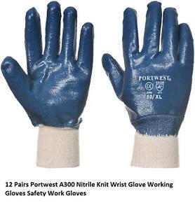 A300 Portwest 12 Pair Nitrile Knit Wrist Glove Working Gloves Safety Work Glove