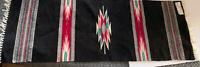 """Chimayo NM Wool Runner Rug 15x44"""" Black W Southwestern Designs"""
