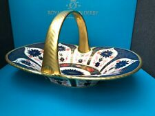 Royal Crown Derby 2nd Quality Old Imari Solid Gold Band Hawking Heather Basket