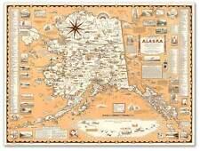 "Large Pictoral MAP of Vintage ALASKA Art Print Poster circa 1949 - 24"" x 32"""