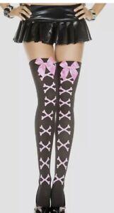 Legs Avenue Nylon Black Opaque Stockings Pink Crossbones Satin Bow Trim