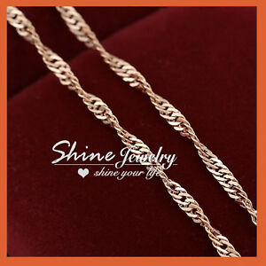 18K ROSE GOLD GF CURB RING SINGAPORE CHAIN for pendant SOLID MENS WOMEN NECKLACE