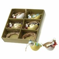 Glass Birds Vintage Style Christmas Tree Hanging Decorations Baubles Ornaments