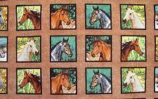 "18"" x 43"" HORSES WILD WINGS HEAD STUDY* 18 FULL BLOCK PANEL on COTTON FABRIC"