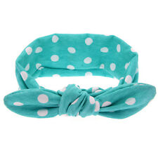 Baby Girl Rabbit Ears Hairband Bow Knot Headband Elastic Turban Headwrap 2016 Blue