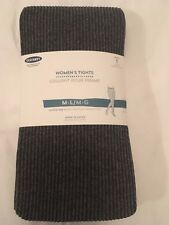 Old Navy Corded Stripe Control Top Tights - Charcoal - Size M/L - BNWT