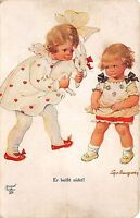 BG33575 children with rabbit   tilly von  baumgarten nice artist signed