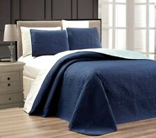 "BLUE/ LIGHT BLUE Oversize ""ORNATO"" Reversible Bedspread KING / CAL KING Embossed"