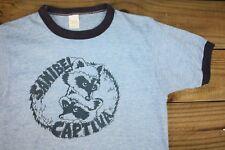 VTG 80's Florida Sanibel Captiva Island Raccoon Rayon Ringer T-Shirt S