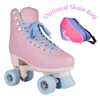 Rookie Pink Bubblegum Quad Roller Skates Girls Womens - Optional Skate Bag