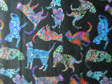 MOD CATS ART DETAILED CAT BRIGHT COLORS BLACK COTTON FABRIC BTHY
