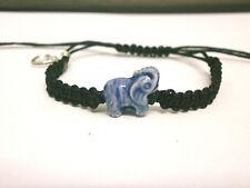 """Pulsera amuleto de buena suerte """" Elefante azul  """" hilo negro ajustable"""