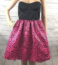 NWOT Abbey Dawn Party Dress Medium Hot Pink Leopard Print Strapless Black Corset