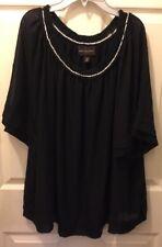 Women's DANA BUCHMAN plus size 2X sheer Sleeve Lined Crochet Neck Top Blouse