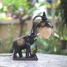 Wood Carved Elephant Table Lamp Lantern Night Light Unique Art Craft Decor C