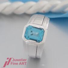 Schnäppchen:moderner RING mit 1 Blau-Topas 3,22ct - 18K/750 Weißgold-TOP ANGEBOT
