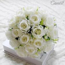 Seda Falso Rosas Artificial Boda Flores Decoración 18 Ramo de Flor Nupcial Decor