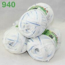 3 balls×50g Super Soft Natural Smooth Bamboo Cotton Yarn Knitting white blue 940