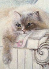 ACEO Original oil painting animals Cat  - Sun bathing  by L K