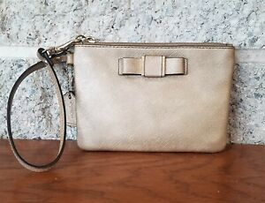COACH 51672 DARCY BOW GOLD LEATHER WRISTLET  CARD CASE CLUTCH  PURSE COIN BAG