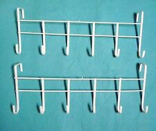 "2 PC WHITE Over The Door Home Office Bathroom Coat Towel 17""Hanger Rack 6 Hooks"