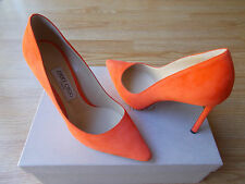 Jimmy Choo Romy 100 Pointy Toe Shoes Pumps Pop Orange Suede 38.5 US 8.5 8 NEW