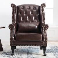 PU Oil Wax Leather High Back Accent Armchair Sofa Fireside Chair Seat Brown Dark