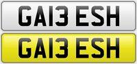 GA13 ESH  Cherished number Plate DVLA registration. Never Been Assigned To A Car