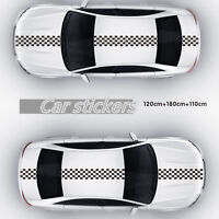 120x24cm Black & White Checkered Racing Chequered Flag Stickers For Car Hood