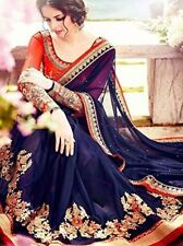 Indian Designer Party Wear Blue Heavy Embroidery Saree Sari with UnStitch Blouse